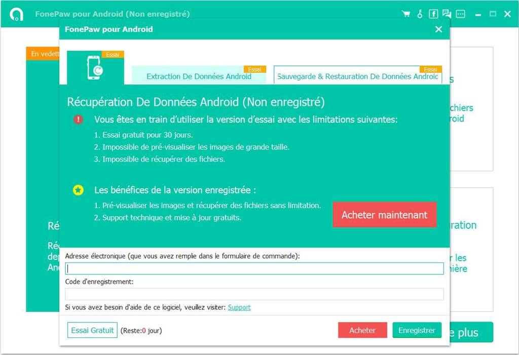 S'inscrire fonepaw pour android