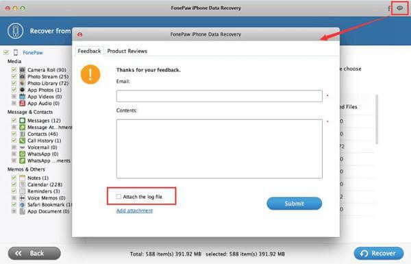 Envoyez le fichier journal d'un Mac