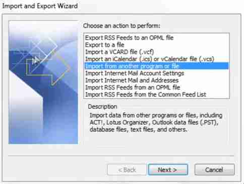 importer et exporter wizard