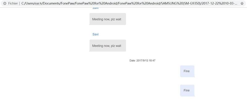 transfert de SMS Samsung vers PC.
