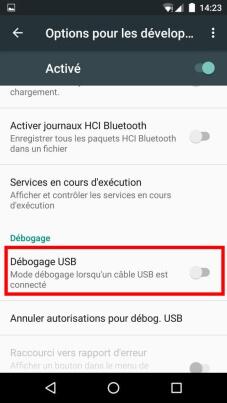 débloquer les options pour les developpeurs Android