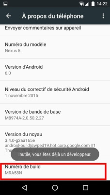 activer options développement android