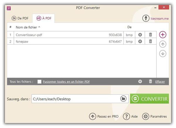 Convertir BMP en PDF