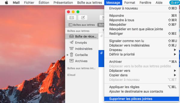 supprimer les pièces jointes de Mail sur mac