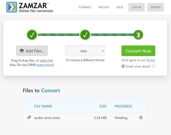 Convertir WWMV en WAV sur Zamzar