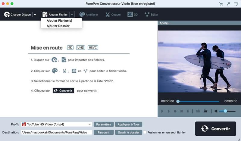 FonePaw Convertisseur Vidéo - convertir des vidéos en mov