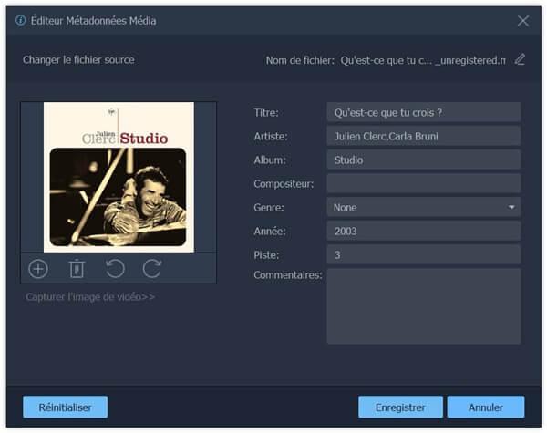Modifier les métadonnées de l'audio MP3