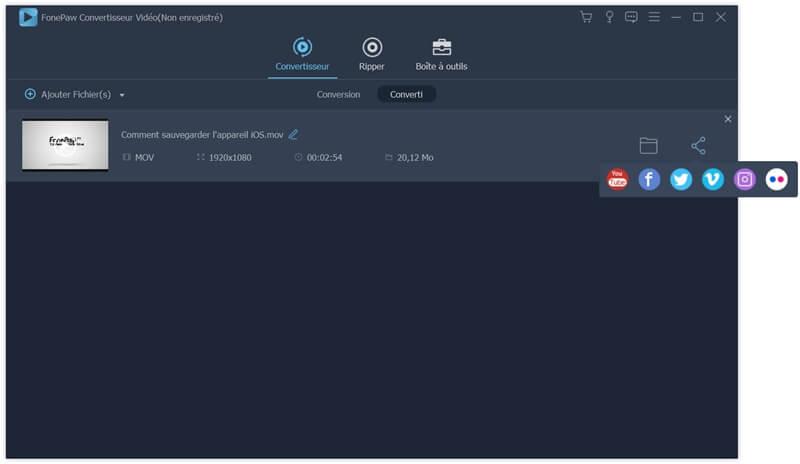 Partager le fichier converti dans FonePaw Convertisseur Vidéo