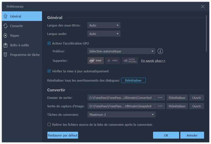 activer la fonctionnalité d'accélération du GPU dans le logiciel FonePaw