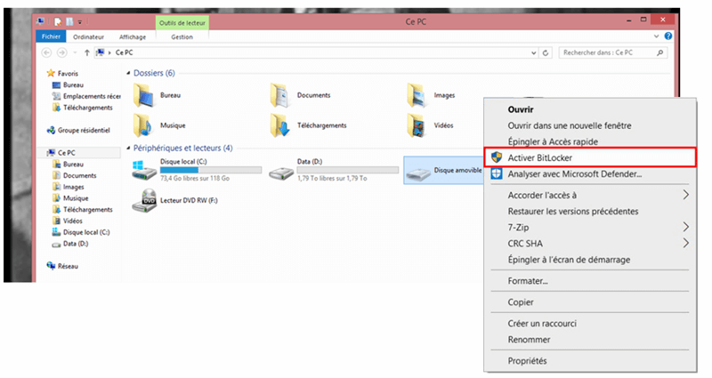 Activer BitLocker pour disque amovible