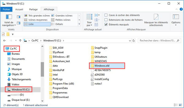 Le dossier Windows.old