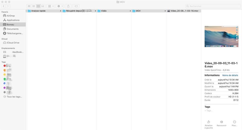 Trouver la vidéo récupérée sur Mac