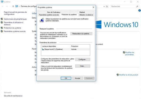 Protection du système Windows