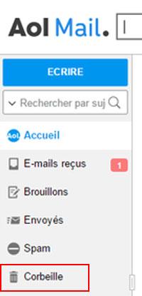 Récupérer des e-mails récemment supprimés sur AOL