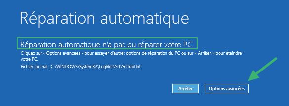 Windows n'a pas pu démarrer normalement