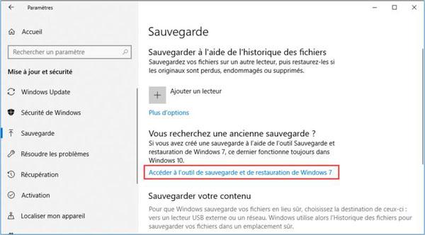 L'outil de sauvegarde et de restauration de Windows 7