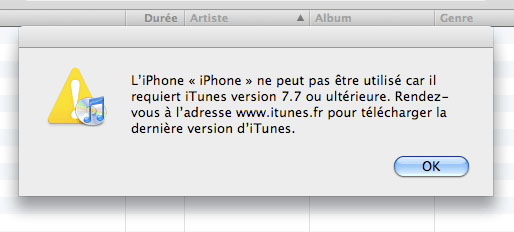 Impossible d'utiliser iPhone/iPad sur iTunes