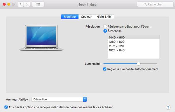 L'écran intégré de Mac