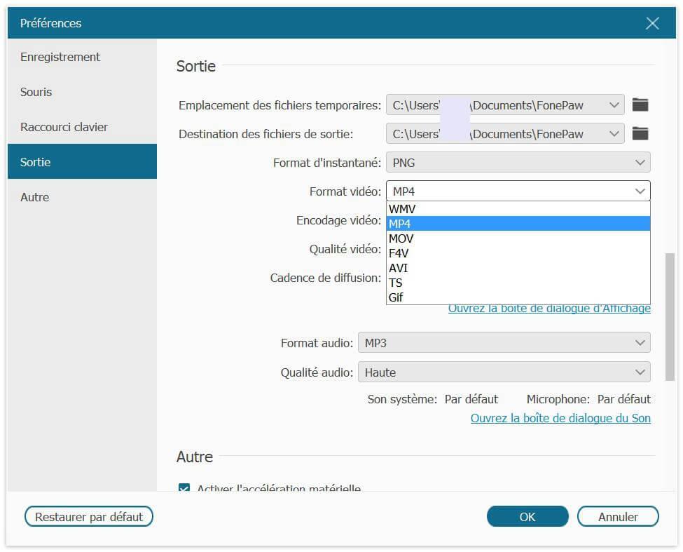 Configurer Format vidéo