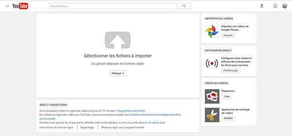 Sélectionner la vidéo à importer sur YouTube