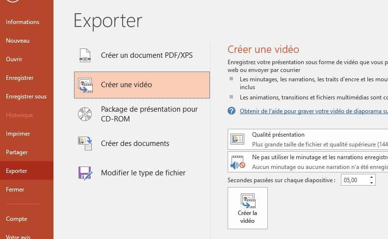 Transformer une présentation PowerPoint en une vidéo