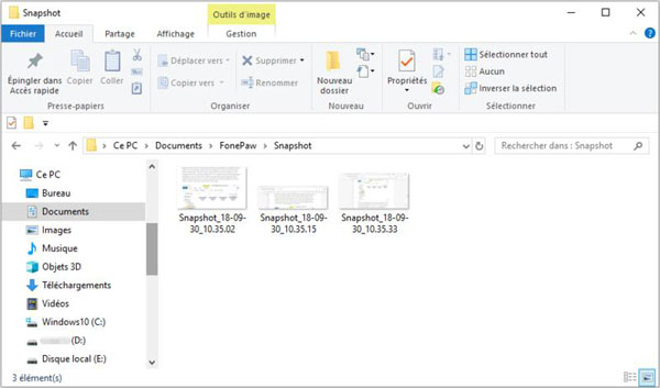 Vérifier les captures d'écran sur HP
