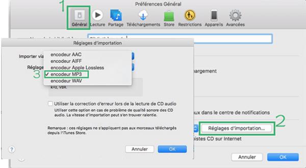 Choisir l'encodeur MP3 dans l'iTunes