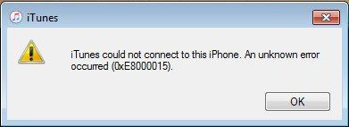erreur 0xE8000015 d'iTunes