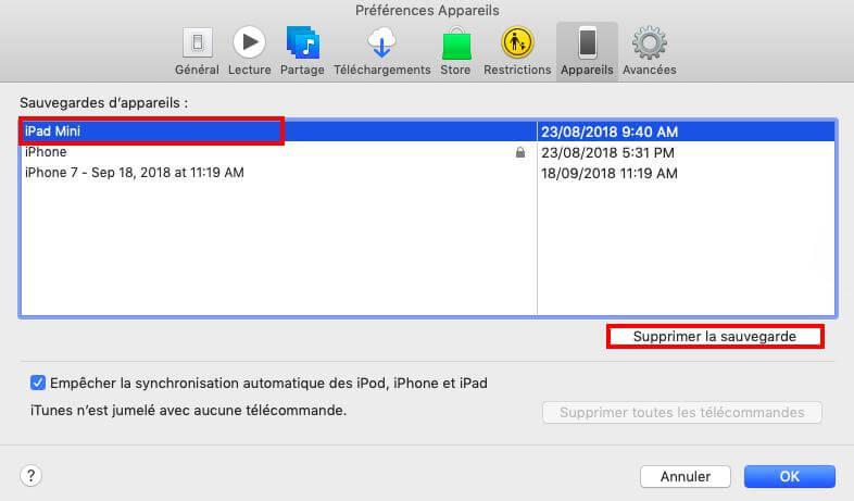 Supprimer la sauvegarde iPhone sur iTunes