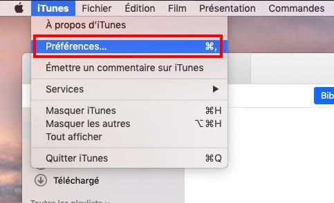 Préférences iTunes