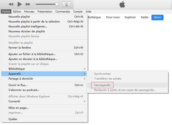 Sauvegarder vos données sur iTunes