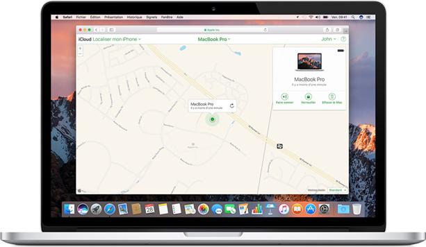 configurer localiser mon mac