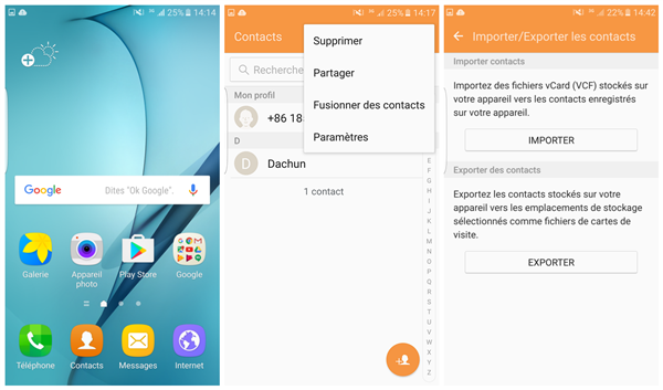importer exporter contacts sur android