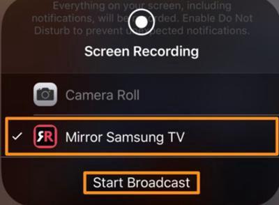 activez la Recopie de l'écran avec Samsung TV