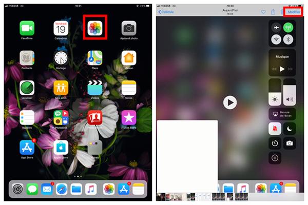 Photos et Modifier la vidéo iPad