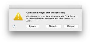 QuickTime s'arrête soudainement