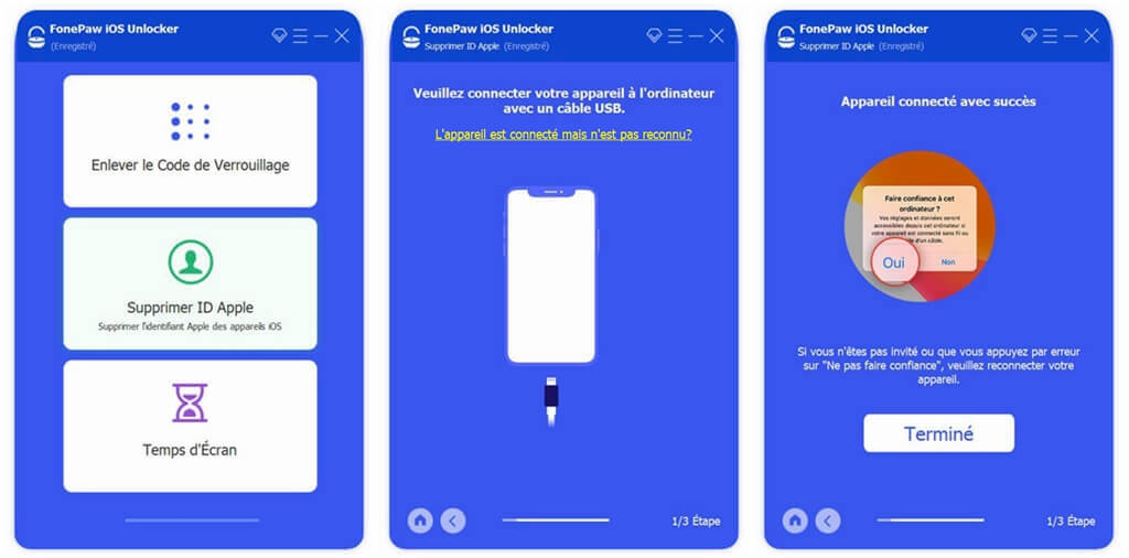 Démarrrer FonePaw iOS Unlocker et connecter l'appareil iOS au PC