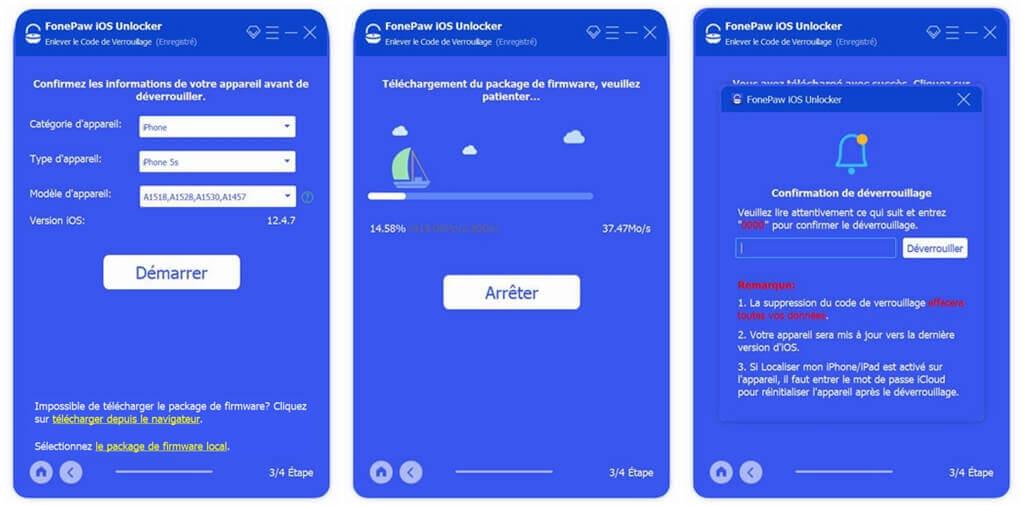Déverrouiller iPhone avec FonePaw iOS Unlocker