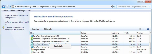 désinstaller FonePaw Transfert iOS (Windows)