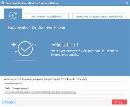 Enregistrer récupération de données iphone