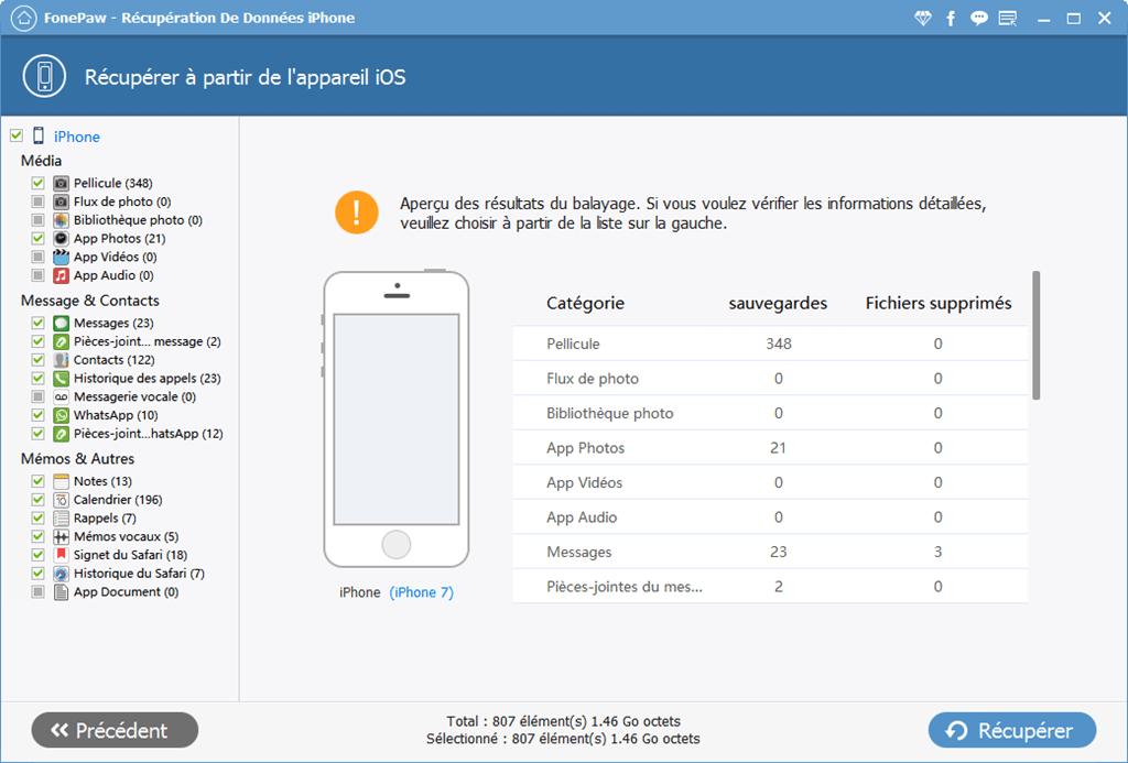 récupérer les fichiers supprimés à partir d'un iPhone