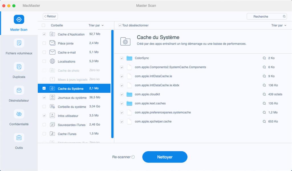 caches du système sur Mac