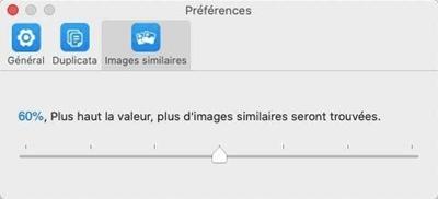 Configurer la valeur pour trouver les images similaires
