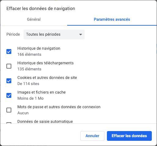 effacer l'historique de navigation de Chrome sur Mac