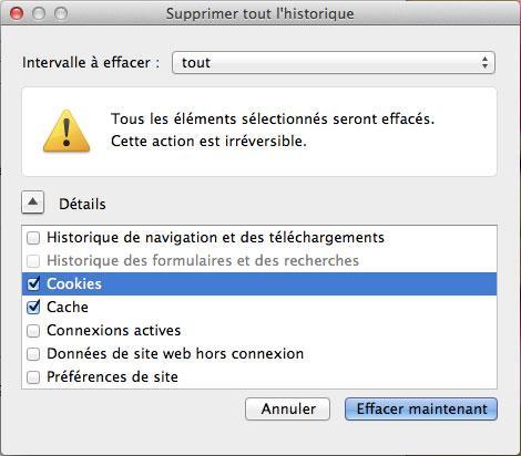 effacer l'historique de navigation de Firefox sur Mac