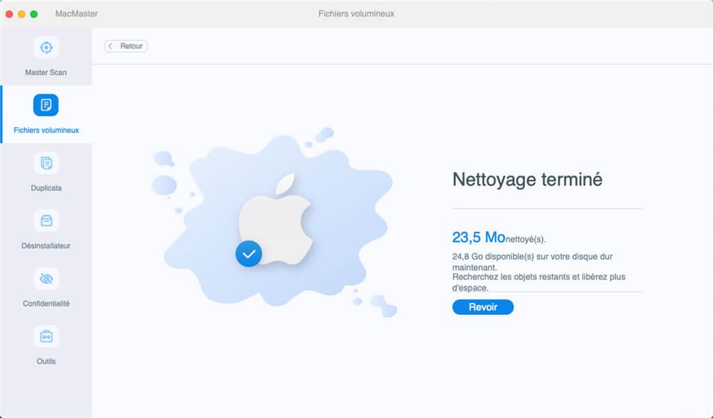 Nettoyage des fichiers volumineux sur Mac terminée