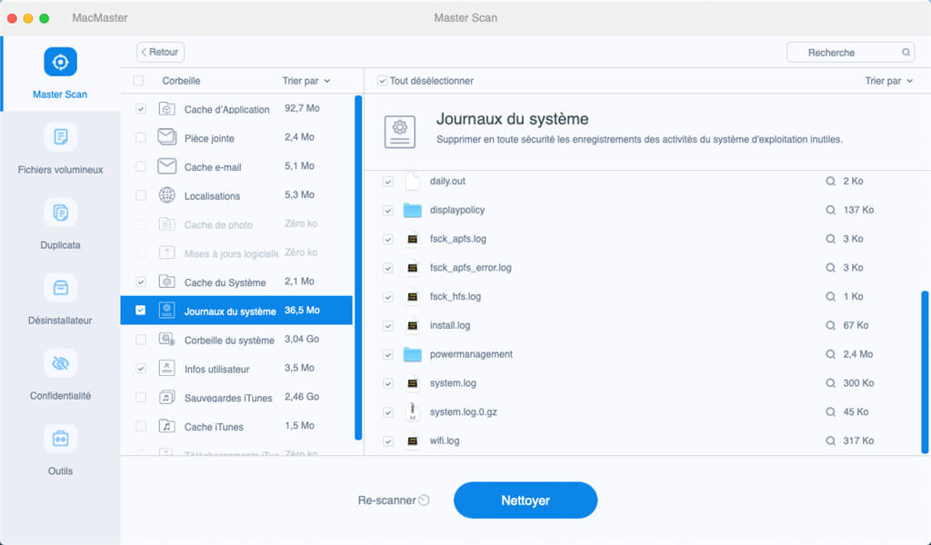 supprimer fichiers inutiles mac