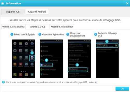 activer le débogage USB pour Android 2.3