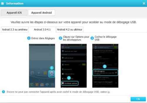 activer le débogage USB pour Android 3.0-4.1
