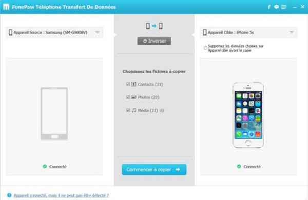 Sélectionnez les types de fichier à copier et à transférer